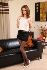 Emily S In Cute Black Mini Skirt And Leggings - Picture 13