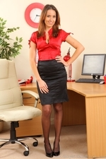 Stunning Secretary Sammie Pennington In Black Stockings And Silken Uniform - Picture 1