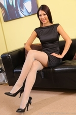 Sabrina C In Her Little Black Dress And Stockings - Picture 2