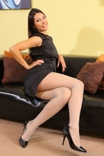 Sabrina C In Her Little Black Dress And Stockings - Picture 3