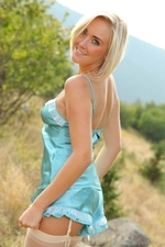 Blonde Beauty Lucy Anne Outdoors In Her Silken Lingerie - Picture 3