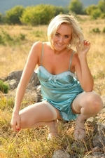 Blonde Beauty Lucy Anne Outdoors In Her Silken Lingerie - Picture 4