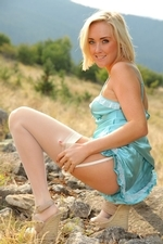 Blonde Beauty Lucy Anne Outdoors In Her Silken Lingerie - Picture 7