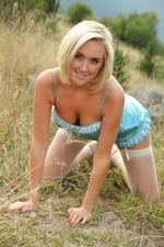 Blonde Beauty Lucy Anne Outdoors In Her Silken Lingerie - Picture 9