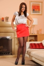 Brunette Secretary Robyn H Stripping From Her Satin Workwear - Picture 1