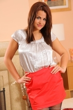 Brunette Secretary Robyn H Stripping From Her Satin Workwear - Picture 2