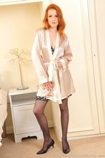 Fiery Redhead Scarlot Rose In Silk Lingerie And Stockings - Picture 1