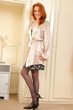 Fiery Redhead Scarlot Rose In Silk Lingerie And Stockings - Picture 3