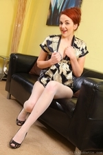 Amazing Redhead Kara Carter Teasing In Satin Clothing And Pantyhose - Picture 10