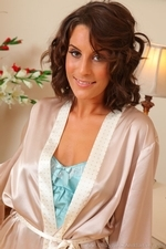 Amazing Brunette Emily J In Silken Lingerie And Stockings - Picture 3