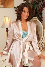 Amazing Brunette Emily J In Silken Lingerie And Stockings - Picture 5
