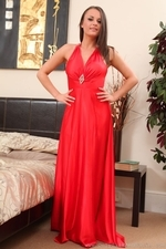 Siobhan Murray Posing In Silk Dress And Pantyhose - Picture 1