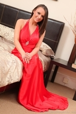Siobhan Murray Posing In Silk Dress And Pantyhose - Picture 2