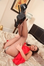 Siobhan Murray Posing In Silk Dress And Pantyhose - Picture 10