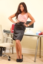 Sultry Brunette Pascalle P In Silken Secretary Outfit - Picture 1