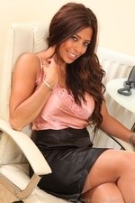 Sultry Brunette Pascalle P In Silken Secretary Outfit - Picture 5