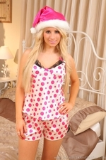 Stunning Blonde Hollie Hill In Silken Bedwear And Pantyhose - Picture 1