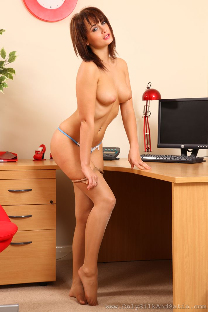 Kelly Smith exciting secretary in sheer pantyhose