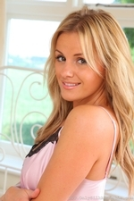 Cute Blonde Amy Green In Satin Chemise And Stockings - Picture 2