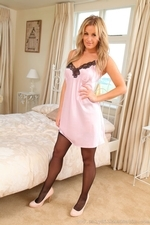 Cute Blonde Amy Green In Satin Chemise And Stockings - Picture 3