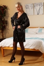 Busty Beauty Cikita In Sexy Nightie With Sheer Hosiery And Colour High Heels - Picture 1
