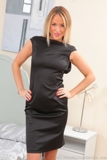 Bubbly busty blonde Rosie in satin dress and stockings - 01