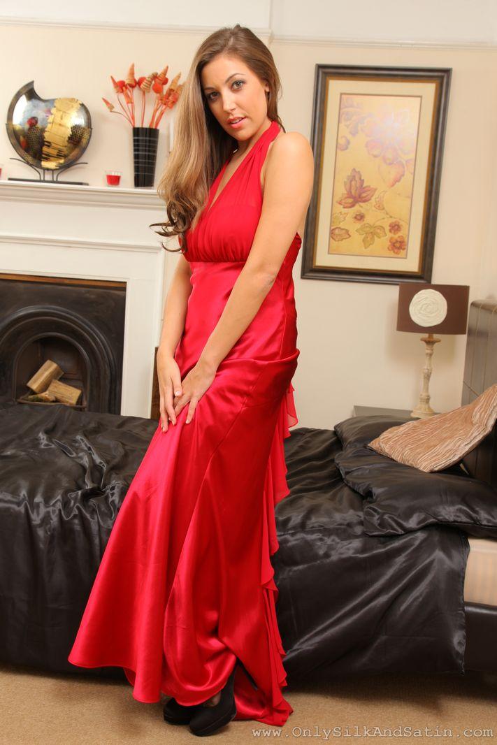 Busty Ava in silken evening dress