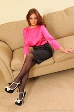 Kerri W Amazing Busty Secretary In Black Tights - Picture 4