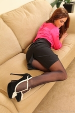 Kerri W Amazing Busty Secretary In Black Tights - Picture 7
