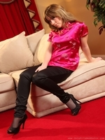 Chloe Louise looks stunning in her oriental pink satin top and tight black trousers - 03