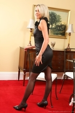 Rachael F looks cute in black evening dress and stockings - 02