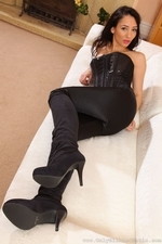 Brunette in tight satin trousers - 05